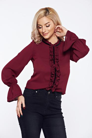 Burgundy LaDonna office elegant voile fabric women`s blouse with ruffles on the chest