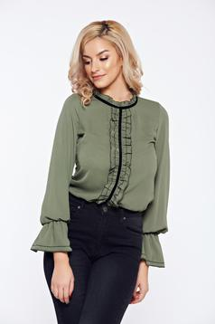 Darkgreen LaDonna office elegant voile fabric women`s blouse with ruffles on the chest