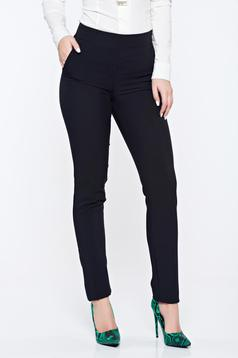 Fofy black office conical trousers with pockets with medium waist