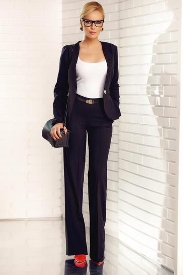 Fofy black office flared trousers with pockets with medium waist