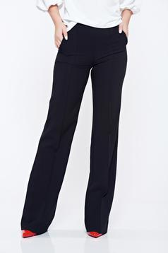 Fofy black office flared high waisted trousers with pockets