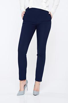 Fofy darkblue office flared high waisted trousers with pockets