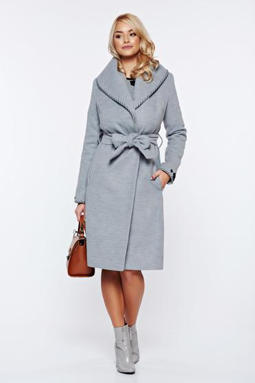 LaDonna elegant cloche embroidered accessorized with tied waistband grey coat from wool