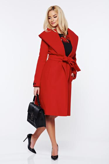 LaDonna elegant cloche embroidered accessorized with tied waistband red coat from wool
