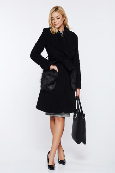 LaDonna black elegant straight wool coat with faux fur insertions