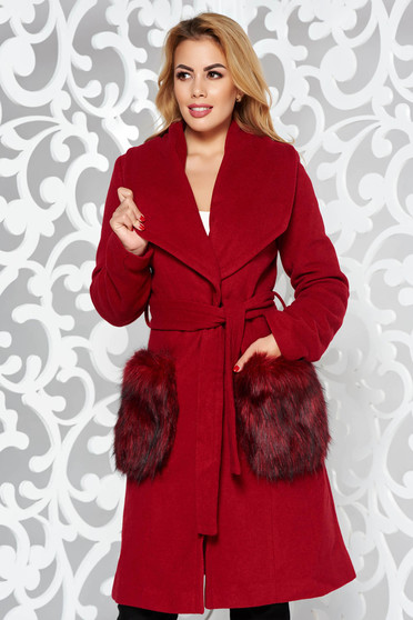 LaDonna burgundy elegant straight wool coat with faux fur insertions