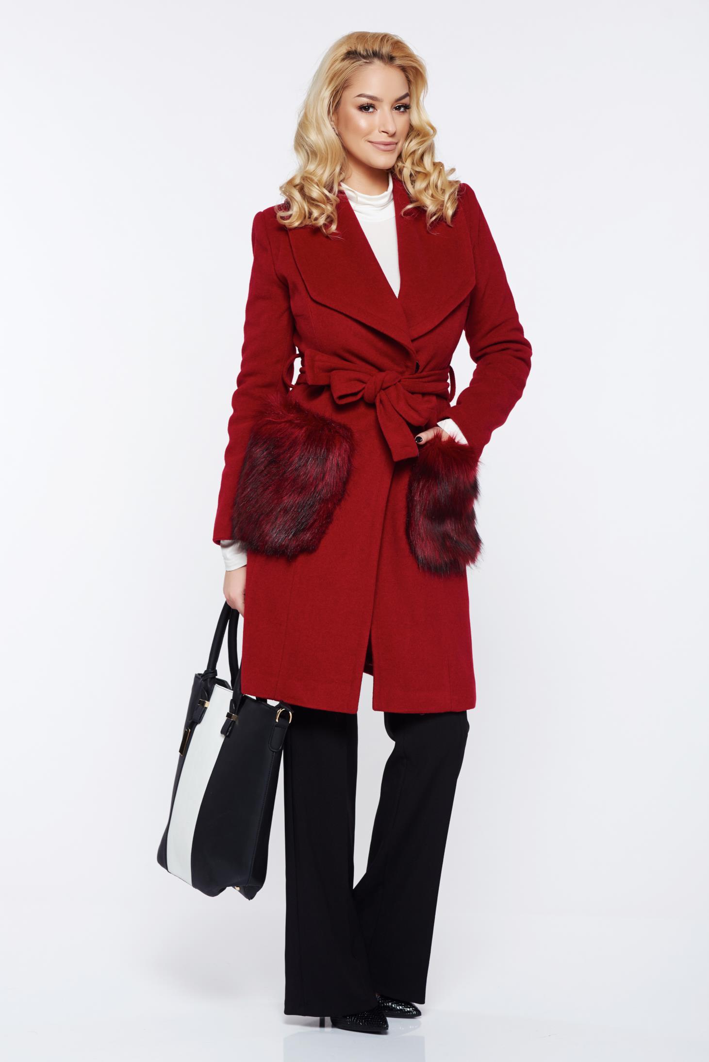 Palton LaDonna visiniu elegant din lana cu insertii de blana ecologica nedatasabile