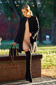 LaDonna black elegant straight embroidered coat cloth