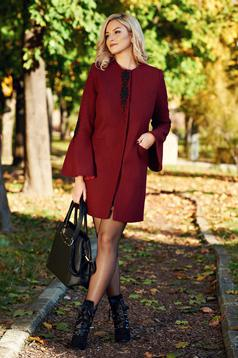 LaDonna burgundy elegant straight embroidered coat from cloth