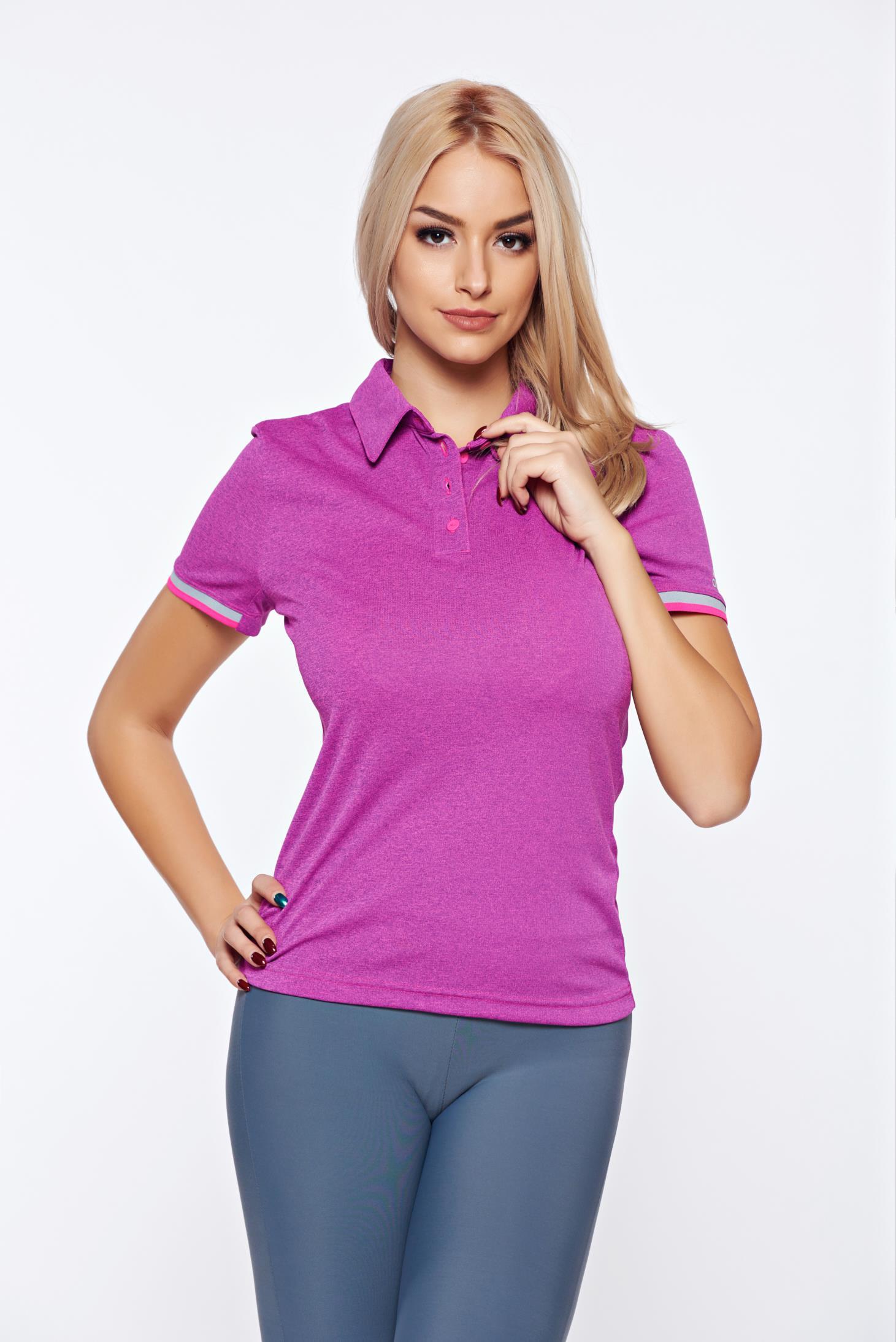 Lila Adidas sportos rövid ujjú póló hegyes gallérral bb7d1ea1cc