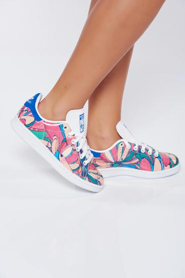 Rosa casual natural leather sneakers Adidas by Stan Smith with floral print