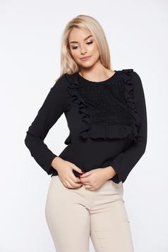 LaDonna black office women`s blouse with ruffles on the chest lace details