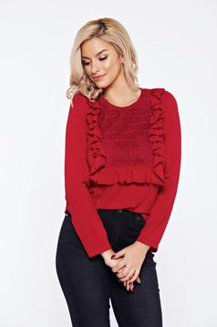LaDonna burgundy office women`s blouse with ruffles on the chest lace details