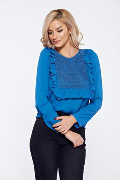 LaDonna blue office women`s blouse with ruffles on the chest and lace details