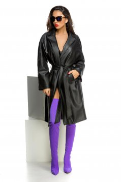 Ocassion black trenchcoat casual accessorized with tied waistband with pockets