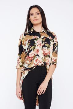 PrettyGirl cream casual asymmetrical women`s shirt with graphic details