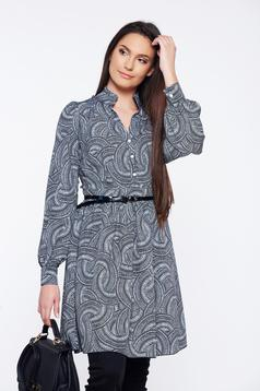 PrettyGirl black daily cloche dress with graphic details
