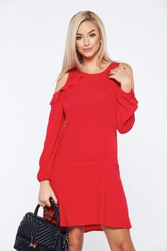 PrettyGirl red daily short dress with both shoulders cut out