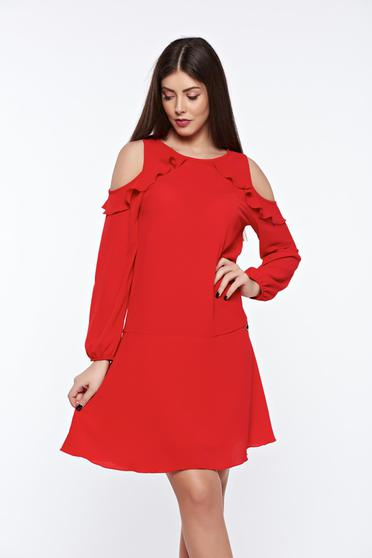 PrettyGirl daily red dress flared both shoulders cut out