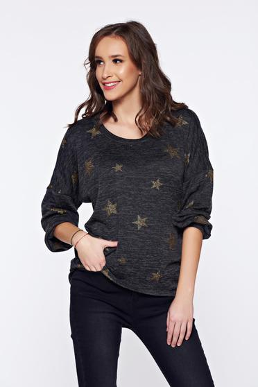 PrettyGirl darkgrey casual knitted asymmetrical sweater with graphic details