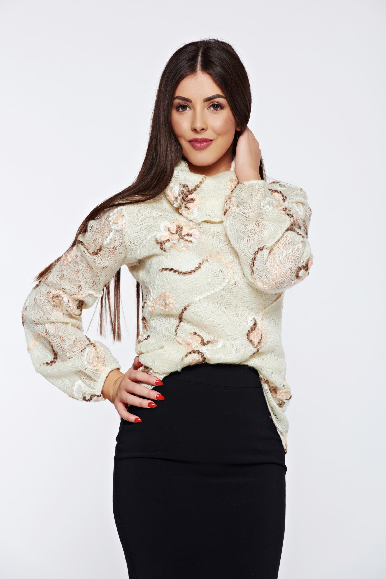 Pulover PrettyGirl crem casual tricotat cu croi larg