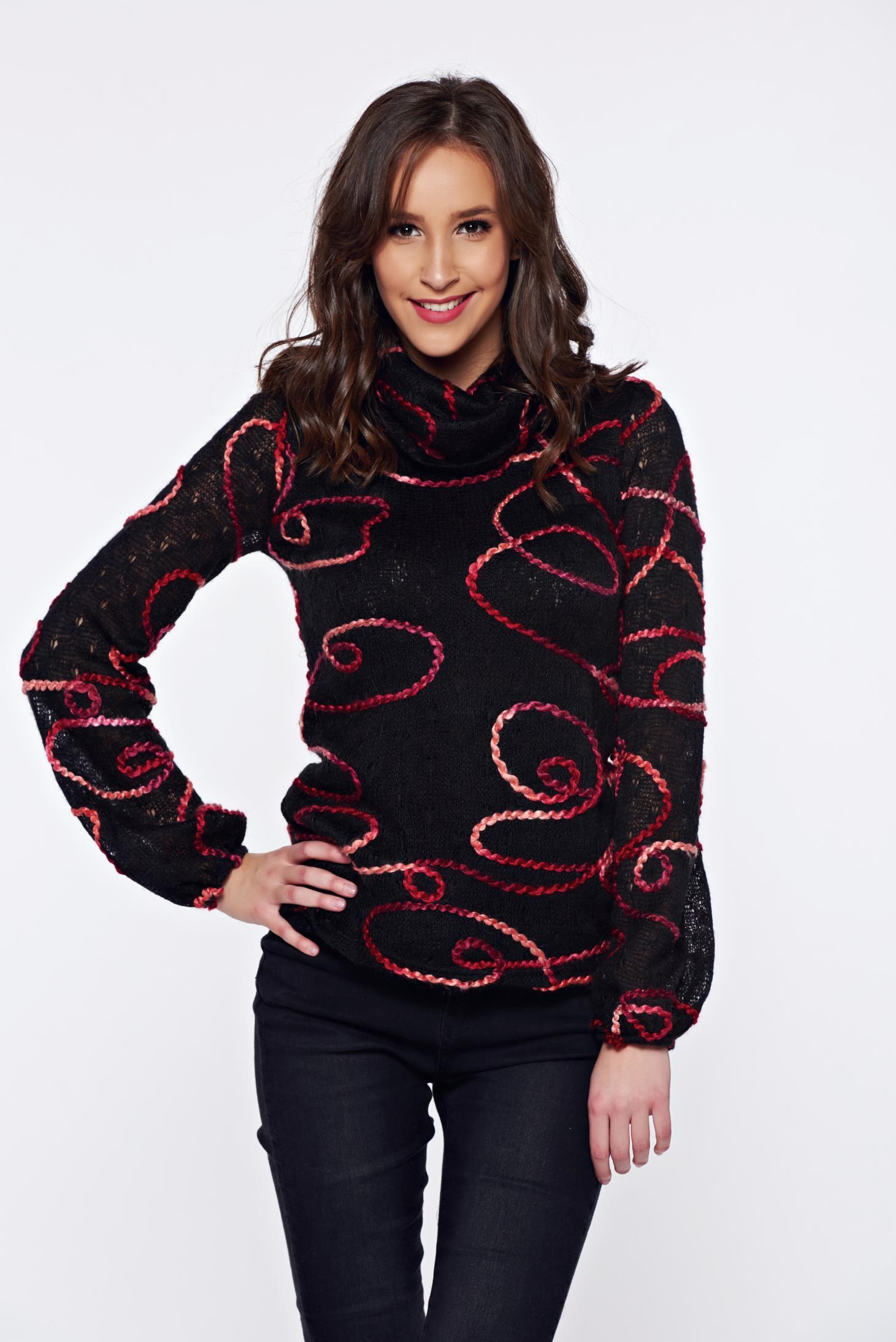 f23fbfa92a Fekete PrettyGirl hétköznapi kötött bő szabású pulóver