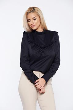 PrettyGirl black office long sleeve women`s shirt without buttons