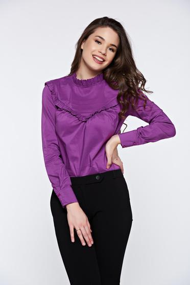 PrettyGirl purple office long sleeve women`s shirt without buttons