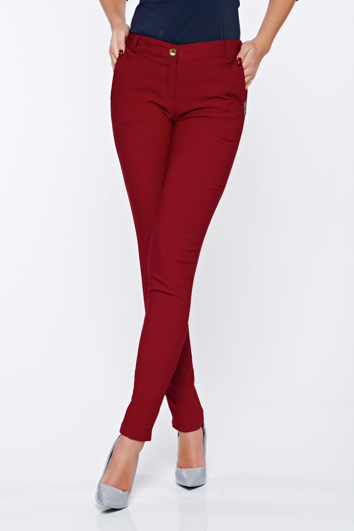Pantaloni PrettyGirl visinii office conici cu buzunare cu talie medie