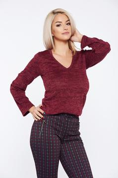 PrettyGirl purple casual flared sweater with v-neckline