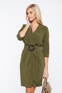 PrettyGirl darkgreen elegant daily wrap around dress