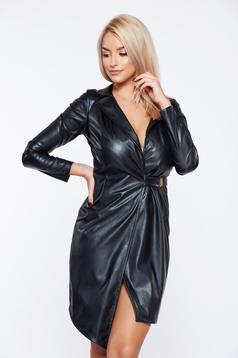 PrettyGirl black cloche ecological leather clubbing dress