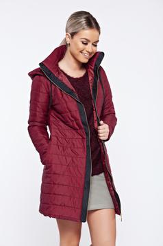 PrettyGirl burgundy casual slicker jacket accessorized with tied waistband