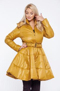 PrettyGirl yellow casual jacket detachable hood