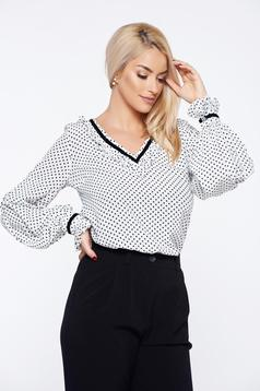 LaDonna white office flared women`s blouse with floral print
