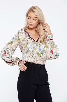 LaDonna cream office flared women`s blouse with floral print