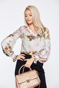 LaDonna rosa office flared women`s blouse with floral print