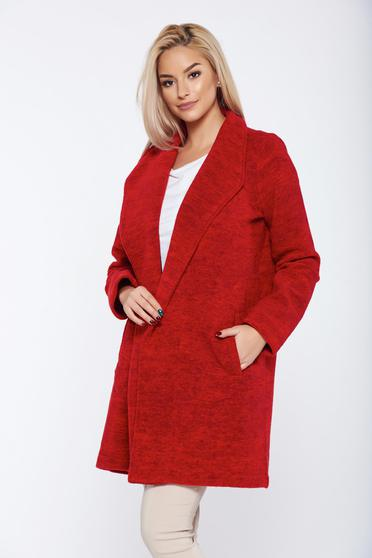 Top Secret red casual straight long sleeve coat