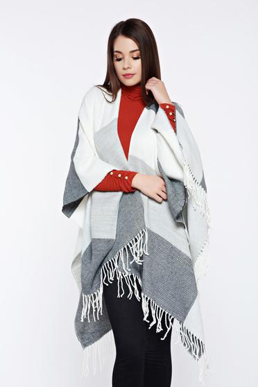 Top Secret grey knitted cardigan with vertical stripes and fringes