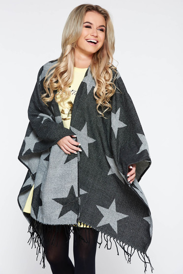 Top Secret black knitted cardigan with fringes and graphic print