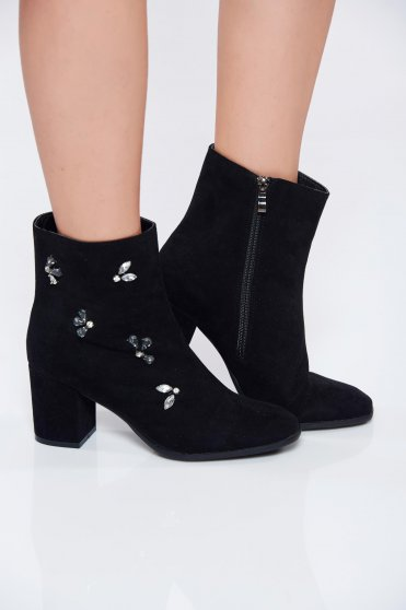 Black casual ecological leather ankle boots with crystal embellished details