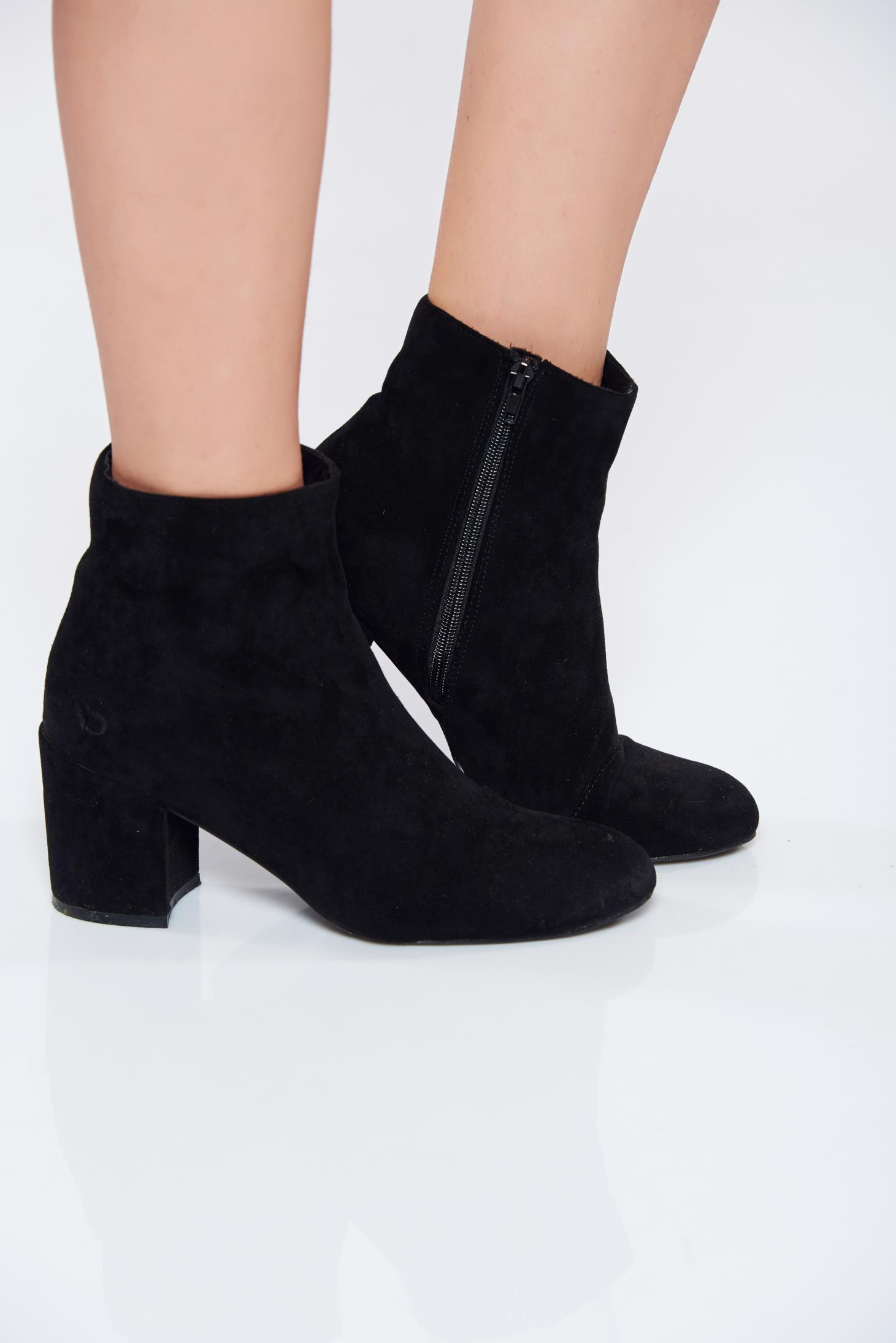 Black ecological leather square heel ankle boots