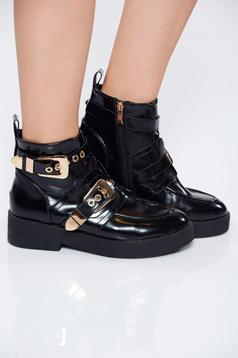 Black casual tramper from ecological varnished leather with buckles accessories
