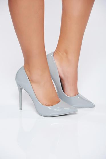 Grey office elegant high heels stiletto shoes from ecological varnished leather