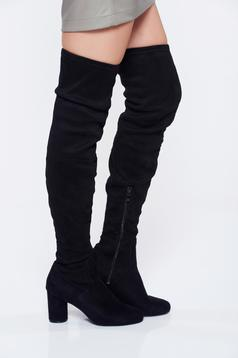 Black casual ecological suede square heel boots