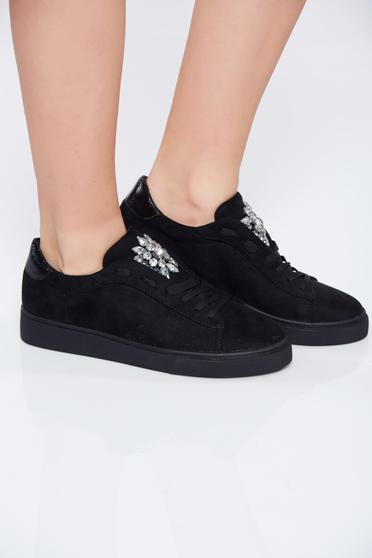 Black casual low heel strass sneakers