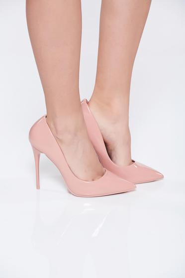 Office elegant ecological leather high heels pink stiletto shoes