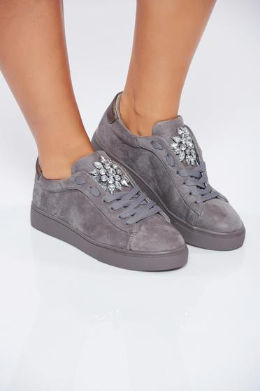 Grey casual ecological leather sneakers with strass