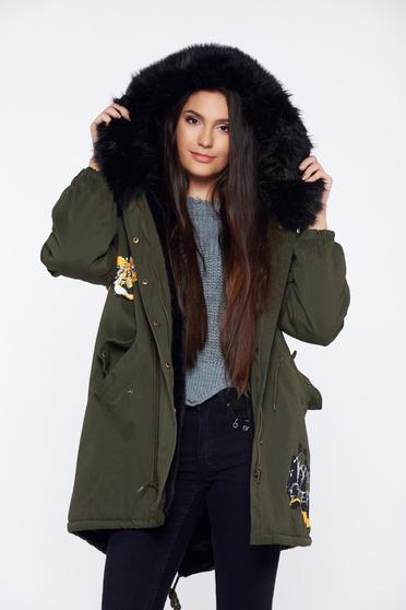 Darkgreen casual jacket with faux fur lining with metallic spikes