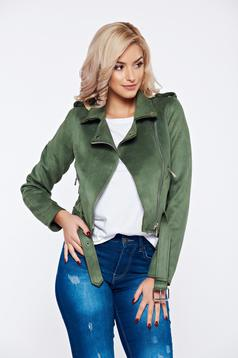 Darkgreen velour casual jacket accessorized with tied waistband